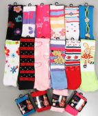 120 Units of Girls Acrylic Tights with Print Size Medium - Childrens Tights