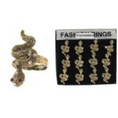 240 Units of Gold-tone adjustable snake ring with clear rhinestones accents