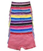 36 Units of Grace Ladys Striped Cotton Boyshort Assorted Color Size Large