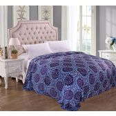 12 Units of Jessica Micro Plush Blanket Purple Star Burst Print QUEEN - 86 X 86