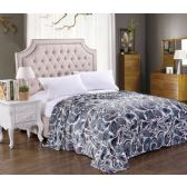 12 Units of Jessica Micro Plush Blanket Teal Paisley Print QUEEN - 86 X 86