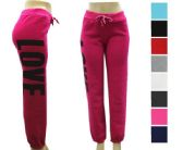 36 Units of Ladies Fleece Lined Love Print Joggers - Assorted Colors Size L-XL