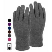 24 Units of LADIES JERSEY TOUCH SCREEN GLOVE BLACK ONLY - Conductive Texting Gloves
