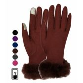 12 Units of LADIES JERSEY TOUCH SCREEN GLOVE WITH FUR CUFF BLACK ONLY - Conductive Texting Gloves