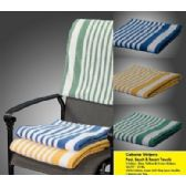 12 Units of Marina Collection Cabana-Stripe Beach Towel 100% Cotton Green  MT Color