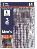 48 Units of Men's 3pk Boxer Shorts Size Larg - Mens Underwear