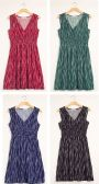 24 Units of Rain Drop Cinch Midi Dress Assorted - Womens Sundresses & Fashion