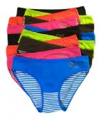 36 Units of Sheila Ladys Striped Cotton Bikini Assorted Colors In Size Large