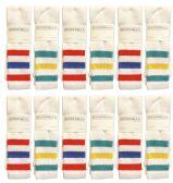 24 Units of SOCKS'NBULK Big And Tall Mens King Size Premium Cotton Extra Long White Tube Socks With Stripes Size 13-16 - Big And Tall Mens Tube Socks