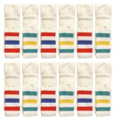 36 Units of Yacht & Smith Men's King Size Extra Long White Tube Socks With Stripes - Size 13-16 - Big And Tall Mens Tube Socks