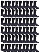 120 Units of SOCKSNBULK Value Pack of Cotton Crew Socks Kids Size 6-8 Black - Boys Crew Sock