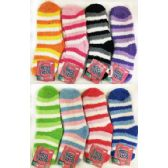 36 Units of Striped Lady Fuzzy Socks Assorted