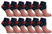 12 Units of USA Flag Womens Low Cut Ankle Socks, USA Themed Socks By Yacht & Smith (Size 9-11) - Womens Ankle Sock