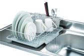 6 Units of Home Basics 3 Piece Vinyl Coated Steel Dish Drainer with Drip Tray, Silver - Dish Drying Racks