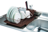 6 Units of Home Basics 3 Piece Vinyl Coated Steel Dish Drainer with Drip Tray, Brown - Dish Drying Racks