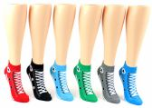 48 Units of Women's Low Cut Novelty Socks - Sneaker Print - Size 9-11 - Womens Ankle Sock