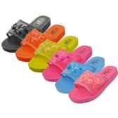 36 Units of Women's Platform Open Toe Mesh Slippers, Size Range 5-10 Assorted - Women's Slippers