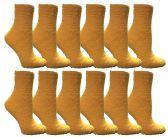 12 Units of Womens Fuzzy Snuggle Socks Dark Yellow, Size 9-11 Comfort Socks - Womens Fuzzy Socks