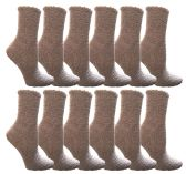 12 Units of Womens Fuzzy Snuggle Socks Gray, Size 9-11 Comfort Socks - Womens Fuzzy Socks