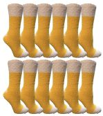 12 Units of Womens Fuzzy Snuggle Socks , Size 9-11 Comfort Socks Yellow With White Heel and Toe - Womens Fuzzy Socks