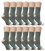 12 Units of Womens Fuzzy Snuggle Socks , Size 9-11 Comfort Socks Teal With White Heel and Toe - Womens Fuzzy Socks