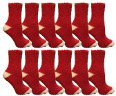 12 Units of Womens Fuzzy Snuggle Socks , Size 9-11 Comfort Socks Red With White Heel and Toe - Womens Fuzzy Socks