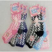 288 Units of Womens Zig Zag Printed Super Soft Fuzzy Socks