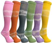 6 Units of Yacht&Smith 6 Pairs Girls Tie Dye Knee High Socks, Sock Size 6-8 - Girls Knee Highs