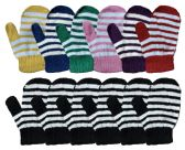 240 Units of Yacht & Smith Kids Striped Mitten With Stretch Cuff 240 Pairs - Kids Winter Gloves