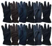 144 Units of Yacht & Smith Mens Double Layer Fleece Gloves Packed Assorted Colors 144 Pairs - Fleece Gloves