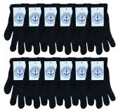 240 Units of Yacht & Smith Unisex Black Magic Gloves 240 Pairs - Knitted Stretch Gloves