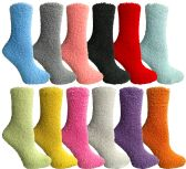 144 Units of Women's Solid Colored Fuzzy Socks Assorted Colors, Size 9-11 - Womens Fuzzy Socks