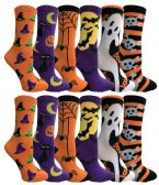 360 Units of Yacht & Smith Womens Halloween Crew Socks Assorted Prints - Womens Crew Sock