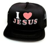 "48 Units of Youth mesh back printed hat, ""I LOVE JESUS"", assorted colors - Kids Baseball Caps"